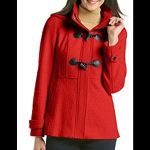 JESSICA SIMPSON red hooded texture toggle coat